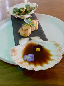 Smiths at Gretna Green Hotel. Eating out. Scallops with sea vegetables and dashi broth. 25th May 2016 JONATHAN BECKER