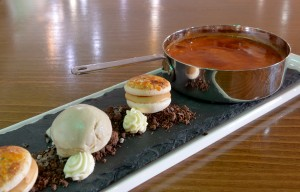 Smiths at Gretna Green Hotel. Eating out. Baileys creme brulee served with tonka bean ice cream. 25th May 2016 JONATHAN BECKER